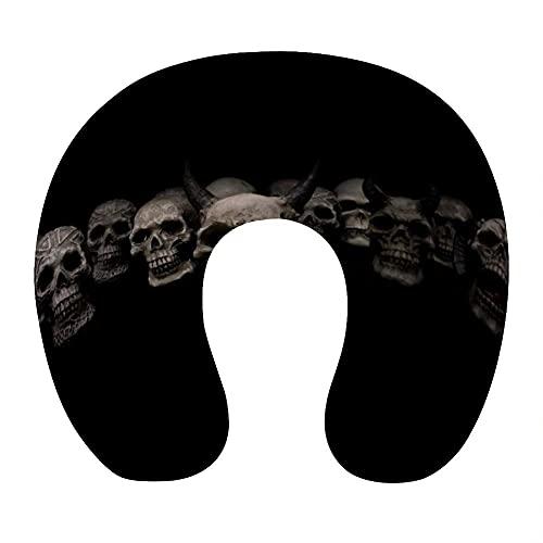 Almohada Viaje Cuello 30*29*10 cm 100% Fibra de Poliéster Ultrafina Almohada Viaje Cervical Transpirable con Funda con Cremallera Cojin Cervical Viscoelástica de Espuma,Negro