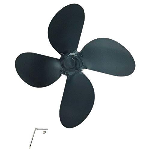 WEFH Accesorios de Ventilador de Chimenea engrosados Aspa de Ventilador de aleación de Aluminio 4 aspas, Negro