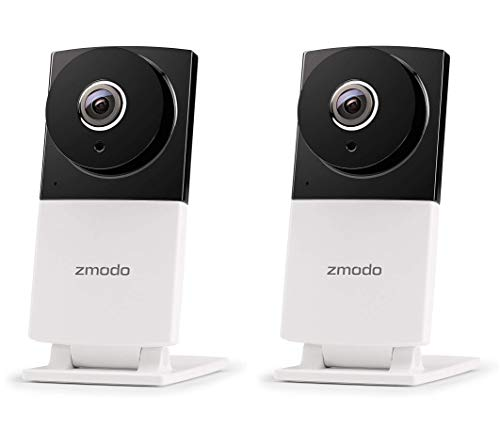 Zmodo Sight 180 C 180° Wide Viewing Angle 1080p Full HD Wireless Security IP Camera Night Vision and Two Way Audio (2 Pack), Works with Alexa