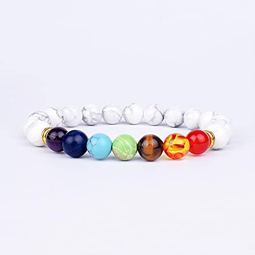 ZXDC 2 uds, Pulseras y brazaletes de hematita de Colores Naturales con 7 Chakras, Cuentas de Equilibrio de Yoga, Pulsera elástica de oración de Buda para Hombres pulseira-O, 21 cm