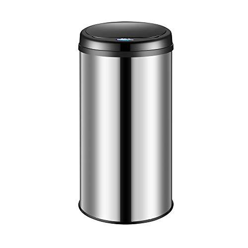 Deuba Sensor Mülleimer 30L Abfalleimer mit LED Funktionsanzeige Automatik Müllbehälter Abfallbehälter Edelstahl Papierkorb mit Bewegungssensor Silber