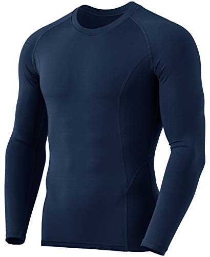 TSLA Men's Thermal Long Sleeve Compression Shirts, Athletic Base Layer Top, Winter Gear Running T-Shirt, Heatlock Round Neck Navy, Large