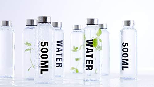 Day, 500 ml, plástico libre de BPA, juego de 12 unidades, transparente con tapa de acero, antigoteo y práctico, más ligero que el acero inoxidable, gimnasio, escuela, yoga, fácil de limpiar