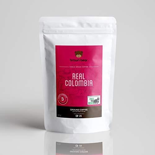 Brown Bear Real Colombia Gemahlener Kaffee, Mittlere Röstung, 227 g Medium Roast Ground Coffee, 5 % der Verkäufe werden an die gemeinnützige Einrichtung Free the Bears