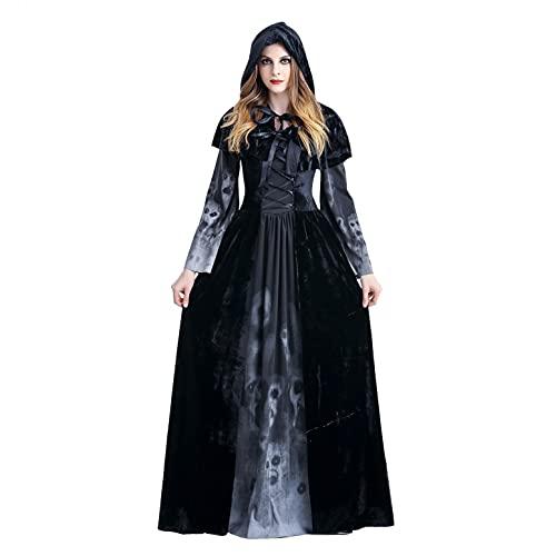 BIBOKAOKE Halloween Kostüm Damen Hexe Totenkopf Print Gothic Kleid Vintage Mittelalterlichen Cosplay Kleid Mittelalter Party Kostüm Kleidung Partykleider Maxikleid Mit Schal