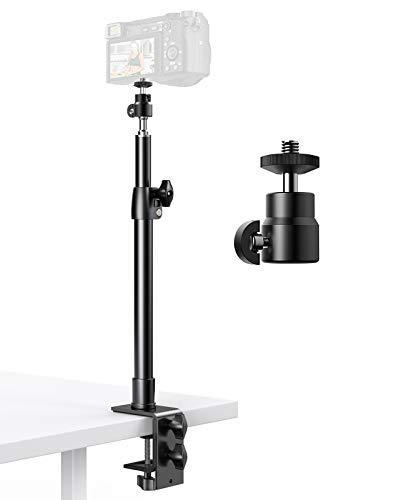 Pixel Tisch Kamera Halterung, 32,7-56cm Einstellbar Lichtstative mit C-klemme und 1/4 zoll Gewinde, Tisch Lichtstativ Klemmstativ mit 360゚Drehbarem Kugelkopf für Kamera/Ringlicht/Video Licht