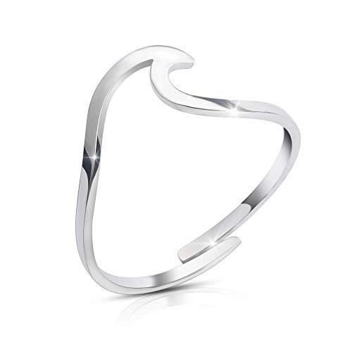 GOOD.designs ® Anillo de ondas para las damas I Anillo de ondas ajustable I Anillo de wave para los dedos (Plata)