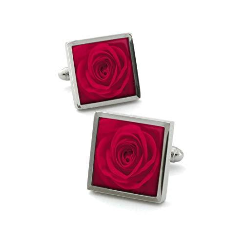 Robert Charles. Boutons de Manchette. Fleur de Rose, Acier rhodié. Rouge, Motifs.