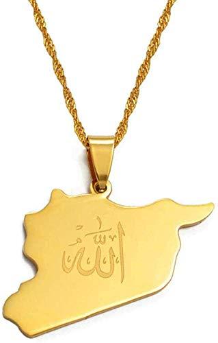 Zaaqio Collar Mapa Siria Colgante Witk Allah Nombre Color Dorado Mapas sirios Collar Joyería Regalos