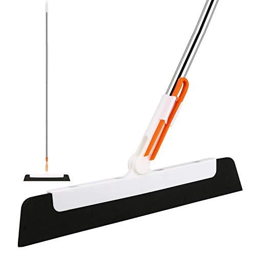 Floor Squeegee Broom, 58in Long Handle Foam Squeegee for Glass Tiles Cleaning, Water Wiper for Bathroom, Garage, Kitchen, Shower Door, Window