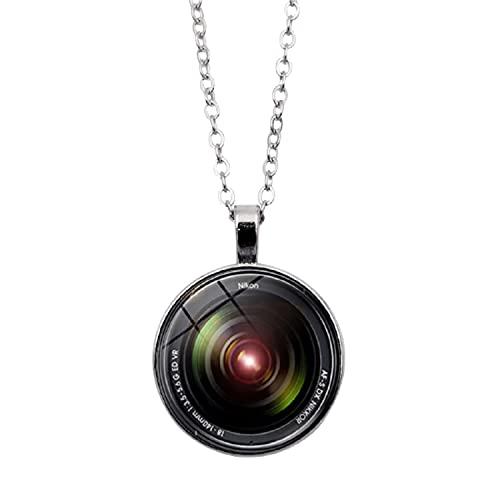 Collar con colgante de lente de cámara con lente SLR Fotógrafo SLR Entusiasta patrón cadena collares para hombres y mujeres regalo personalizado