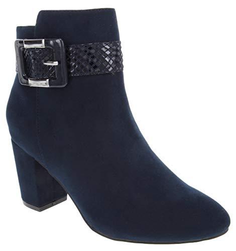 LONDON FOG Womens Ivelisse Block Heel Ankle Boot Navy 9