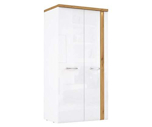 Furniture24 Kleiderschrank Tuluza TUZS821B, 2 Türiger Drehtürenschrank mit 4 Einelgeboden, LED Beleuchtung und Kleiderstange, Weiß Hochglanz, Schrank