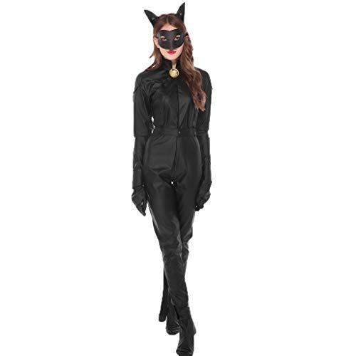Halloween Damen Tier Cosplay Kostüm 14 Stücke Set Overall Hosen + Ohren Haarschmuck + Maske + Gürtel + Handschuhe + Schuhe + Armband + Knöchel Ring + Glocke Karneval Party Prom Dress Up Trachten