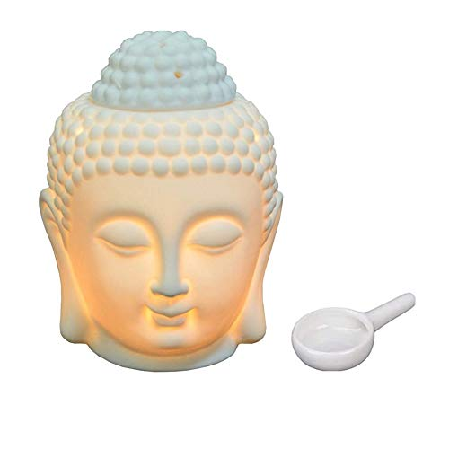 MAOUYWIEE White Buddha Head Oil Burner with Candle Spoon, Essential Oil Burner Candle Aroma Diffuser for Spa Yoga
