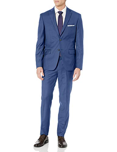 DKNY Blue Plain Wool Slim Fit Suit