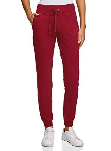oodji Ultra Damen Sport-Hose mit Bindebändern, Rot, XXS
