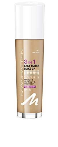 Manhattan 3in1 Easy Match Make Up, ölfreie Foundation für einen makellosen Teint, Farbe 38,4 Bronze, 30ml