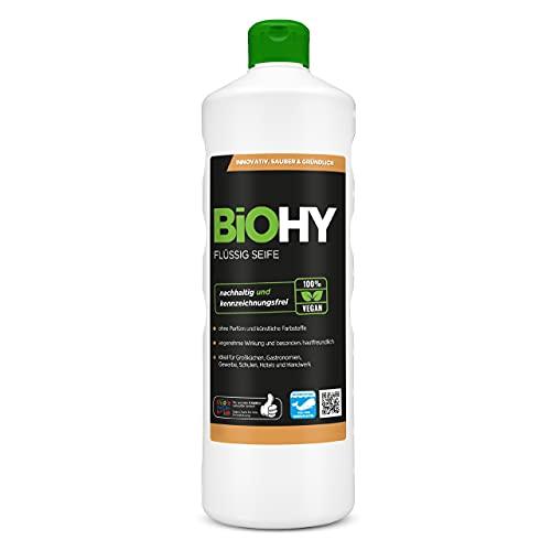 BiOHY Flüssig Seife (1l Flasche) | Geruchsneutrale, hautschonende und rückfettende flüssige Handseife | PHOSPHATFREI | Ohne Parfüm und Farbstoffe