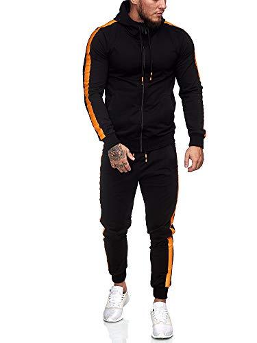 OneRedox | Herren Trainingsanzug | Jogginganzug | Sportanzug | Jogging Anzug | Hoodie-Sporthose | Jogging-Anzug | Trainings-Anzug | Jogging-Hose | Modell 1062 Schwarz Orange XXL