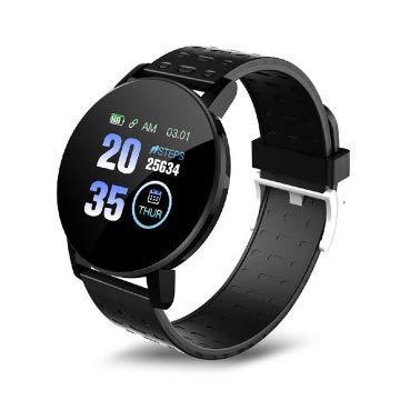 Smartwatch Plus 119, rastreador de fitness, resistente al agua IP67, pulsera inteligente, monitor de frecuencia cardíaca, modo multideporte, Full HD, rastreador de actividad (negro)