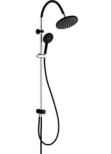 SCHÜTTE 60626 MATAO RAIN Duschsystem ohne Armatur mit flexiblem Duschkopf, Duschstange mit Brause im Set (Regendusche mit Wandhalterung, Duschsäule, Handbrause und Schlauch), Schwarz/Chrom