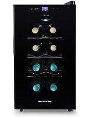 IKOHS VINARIAM 800 - Vinoteca de 8 botellas, 23 l, 60 W Luz LED, Display Digital, 3 Estantes, Doble Aislamiento, Zonas de temperatura de 8-18 grados, Baldas Acero Inoxidable