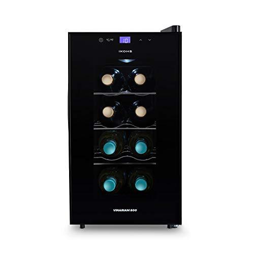 IKOHS WINECOOLER S - Vinoteca de 8 botellas, 23 l, 60 W Luz LED, Display Digital, 3 Estantes, Doble Aislamiento, Zonas de temperatura de 8-18 grados, Baldas Acero Inoxidable
