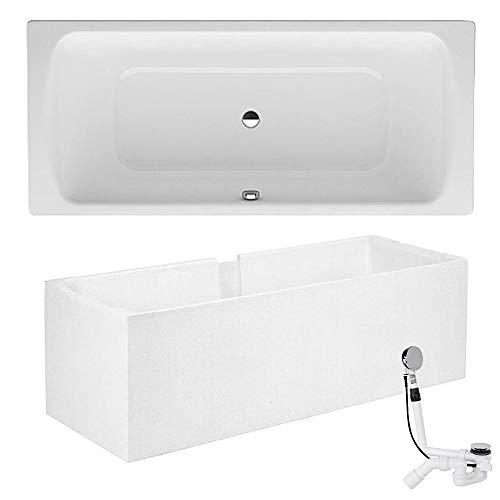 Stahl Badewanne Eden 180 x 80 weiß Wannenträger Ab- Überlaufgarnitur Emaille