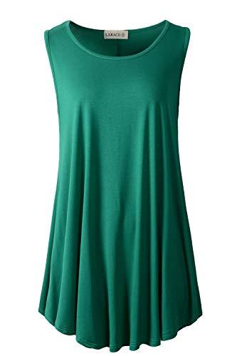 LARACE - Camiseta estilo túnica para mujer, lisa, sin mangas, acampanada y con vuelo para usar con leggings, L