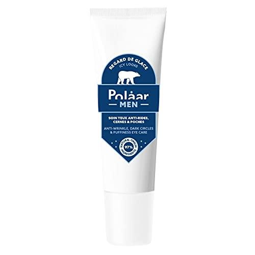 Polåar Men - Mirada de hielo, Contorno de ojos antiarrugas, ojeras e hinchazón con ginseng siberiano - 15 ml - Cuidado Hombre - Crema - Reafirmante, Antiedad y juventud - 97% natural, Vegano