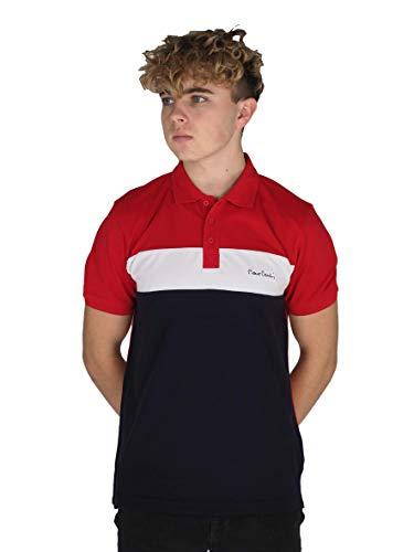Pierre Cardin - Polo da uomo, 100% cotone, taglio e cucitura a righe con colletto ribaltabile, con marchio ricamato, maglia in piqué rosso/blu navy. XL