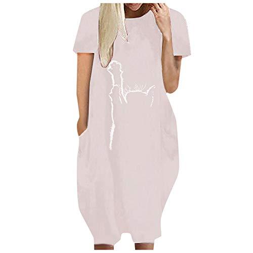 Samore Vestido de manga corta para mujer con diseño de latido de corazón y gato, con bolsillos, estilo informal, Rosa., XXXXL