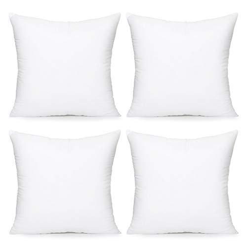 Acanva Hypoallergenic Pillow Insert Form Cushion, Square, 18″ L x 18″ W, Pack of 4