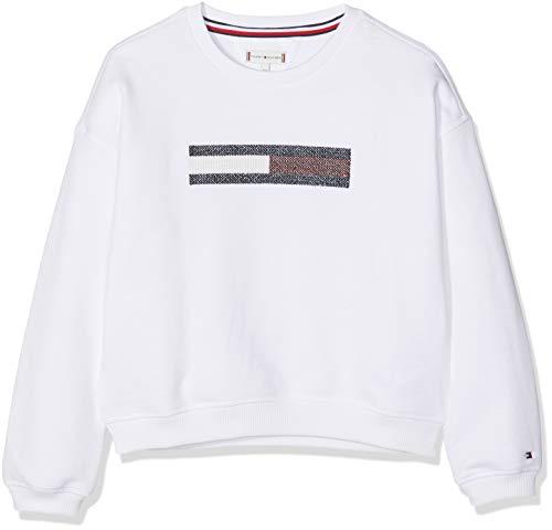 Tommy Hilfiger Lurex Flag Slouchy Sweatshirt Sudadera, Blanco (Bright White 123), 128 (Talla del Fabricante: 8) para Niñas