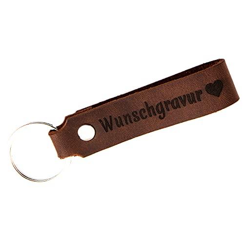 Tidero Schlüsselanhänger Leder mit Wunschgravur, individuelle Gravur - personalisiert Schlüsselbund Namen Auto - Geschenk für Männer Frauen Jahrestag - 100% Handmade in Germany - Magic Brown