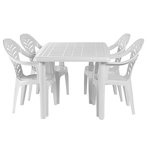 Resol 4 Person Olot Outdoor Garden Dining Table and Chairs Set - UV Resistant Patio Furniture - White