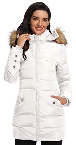 Epsion Women's Hooded Thickened Long Down Jacket Winter Down Parka Puffer Jacket (White, XS)