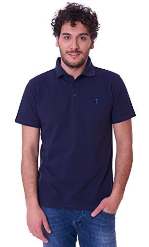 Trussardi Jeans Herren Polo Close FIT Cotton Piquet Poloshirt, Blu (Blu Navy), Medium