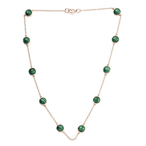 TJC Station Necklace for Women Size 18 Inches Green Malachite