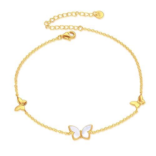 925er Sterlingsilber Fußkettchen Schmetterling Vergoldet Fusskette Damen Fusskettchen Frauen Schmetterling Schmuck Geschenke 23cm+5cm (Gold)