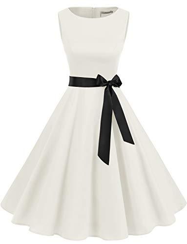 Weißes Kleid für Hochzeit Damen Rockabilly Kleid Knielang Vintage Retro Kleider Faltenrock Weißes Brautkleider White 3XL