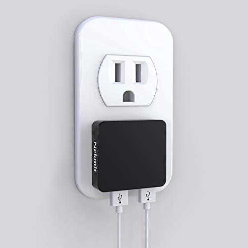 Nekmit Dual Port Ultra Thin Flat USB Wall Charger with Smart IC, Black