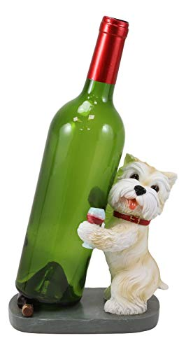 Ebros Gift Standing Yorkie Canine Dog with Red Collar and Wine Glass Wine Bottle Holder Figurine 7' Tall Yorkshire Terrier Statue Animated Cartoon Pets Caddy Party Hosting Figurine Decor