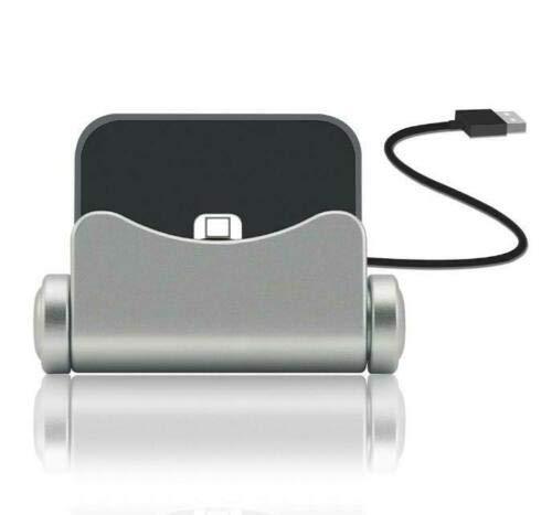 N4U Online® Premium Ladestation Sync Dock Ständer Halter für Asus ZenFone Go 5.0 (LTE) silberfarben