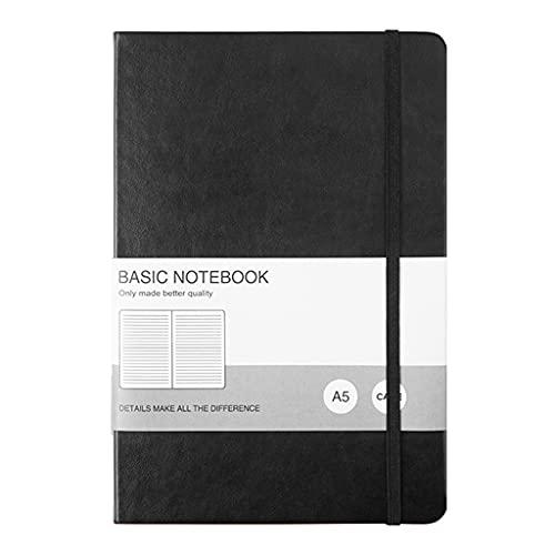DUESI Cuaderno de notas A5 simple retro a la moda de negocios, 128 hojas de tapa dura, bloc de notas rayadas con forro de alta calidad
