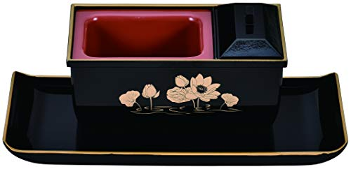 サンメニー 仏具 香炉 焼香盆やすらぎセット 黒(フチ金) 蓮 特小(24.5 x 10.9 x 9.8cm) フェノール 日本製 B_02