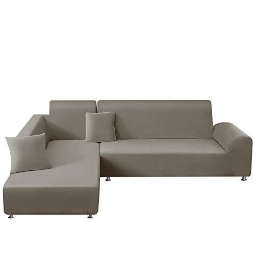 TAOCOCO Funda para sofá en Forma de L Funda elástica elástica 2 Juegos para 3 Asientos 3 Asientos, con Funda de cojín de 2 Piezas (Gris Pardo)