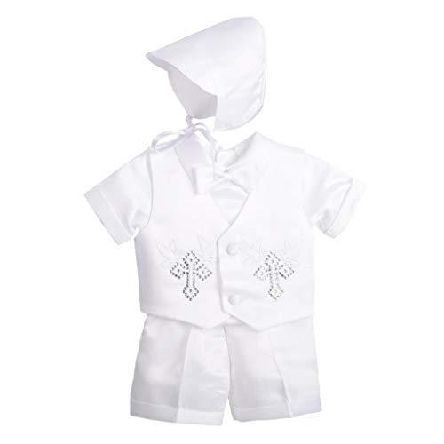 Lito Angels - Abito da Battesimo per Neonato Bimbo, Completo Bianco 5 Pezzi Set (Gilet, Camicia, Pantaloni, Papillon e Cappello), Taglia 6-9 Mesi, Stile A, Manica Corta