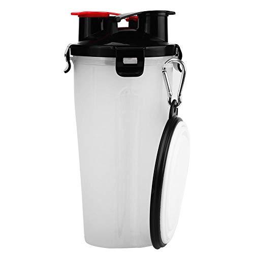 ペット外出用給水給餌両用ボトル ペットボウル ペットボトル 2in1ボトル ポータブル 折り畳み式 屋外 ウォーターカップ フードコンテナ アウトドア 犬用 ネコ用 ペット用 赤/白(白)
